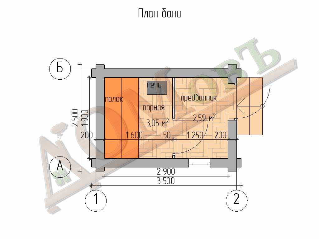 Баня из бревна 2,5×3,5 – проект ОБ-1 - планировка