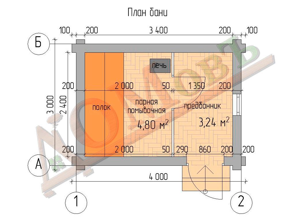 Баня из бревна 3×4 - планировка