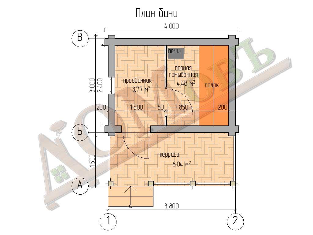 Баня из бревна 3×4 с террасой 1,5х4 - планировка