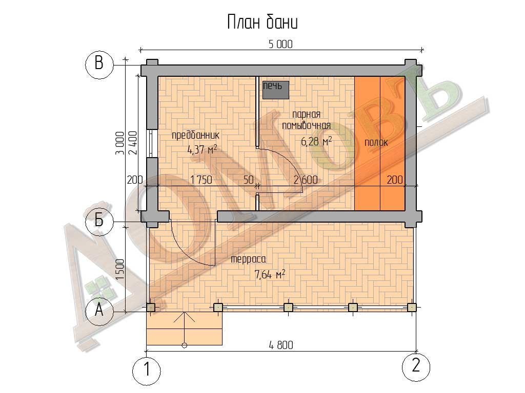 Баня из бревна 3×5 с террасой 1,5м x 5м - планировка