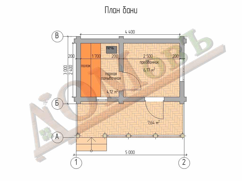 Баня из бревна 3х5 с террасой 1,5х5 – проект ОБ-6-1 - планировка