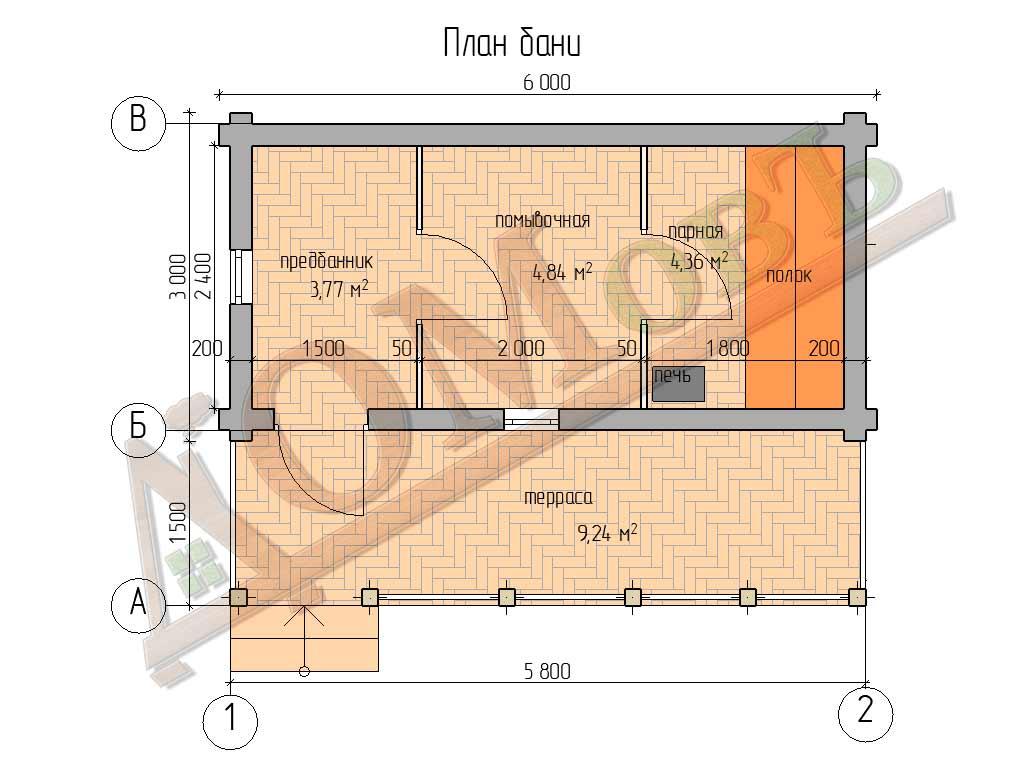 Баня из бревна 3х6 с террасой 1,5х6 - планировка