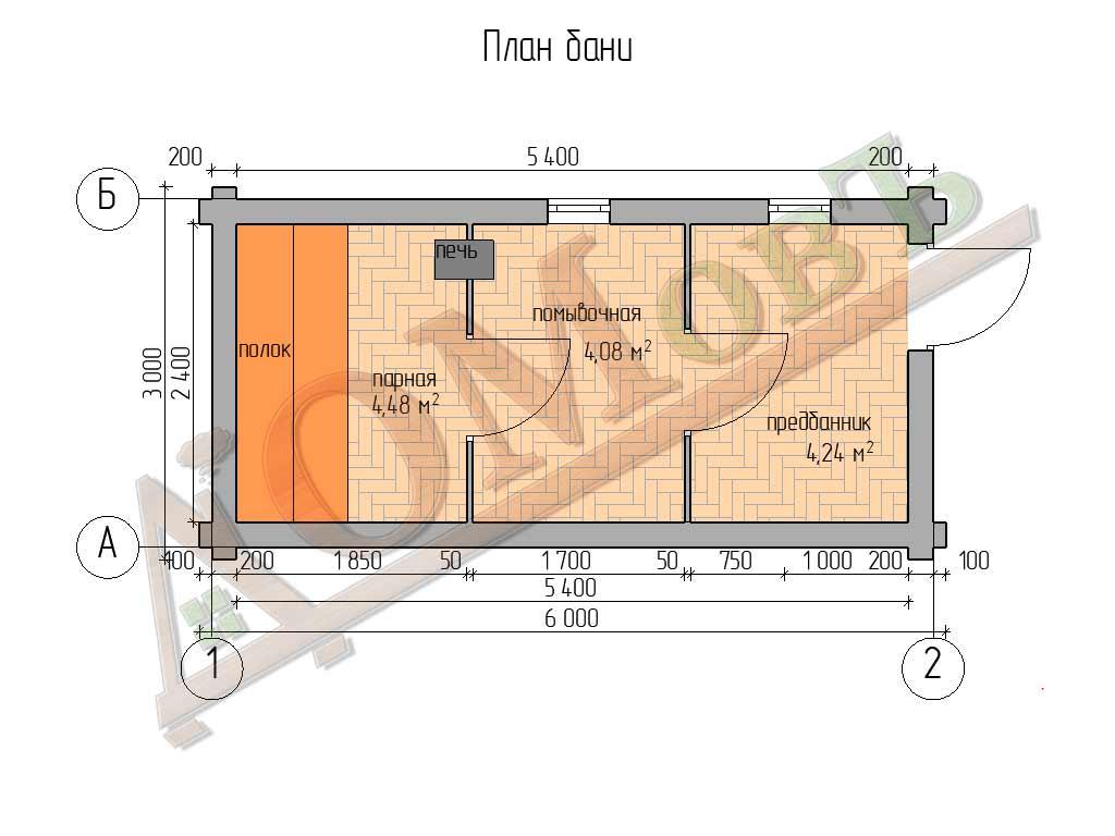 Баня из бревна 3х6 - планировка