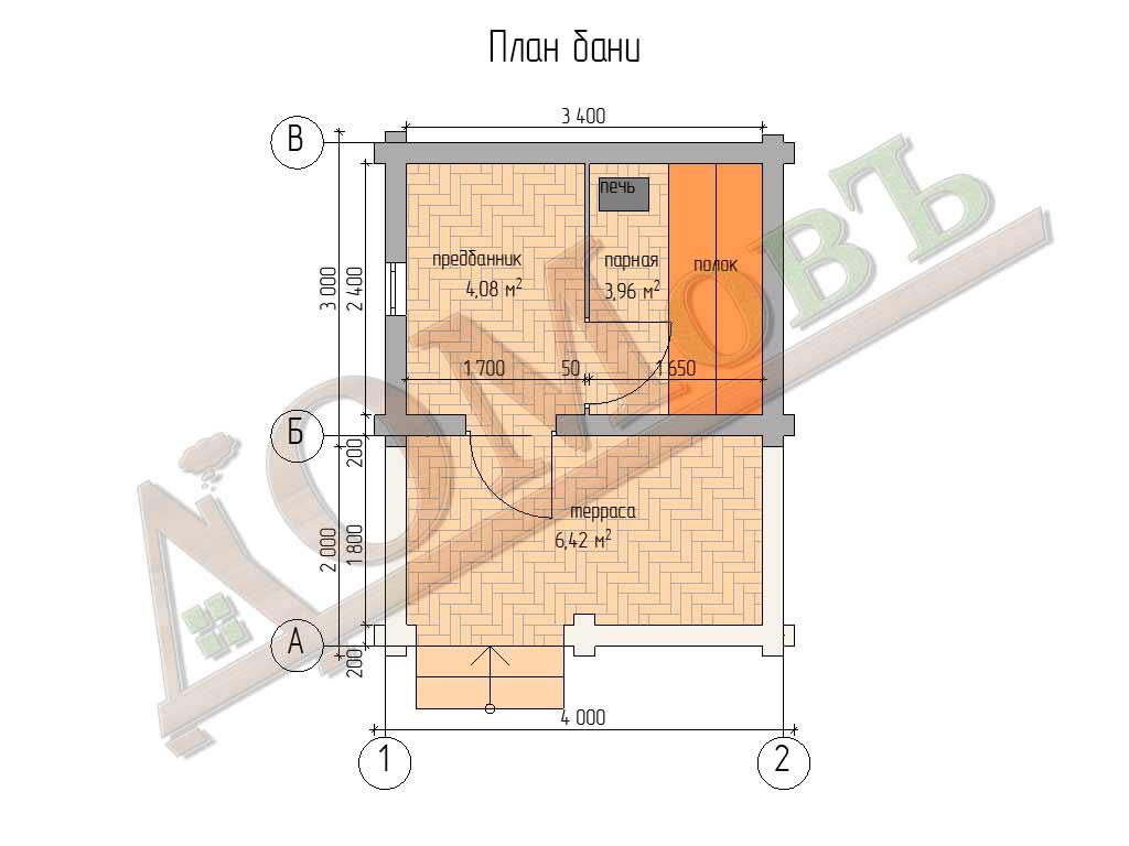 Баня из бревна 3x4 с террасой 2х4 - планировка