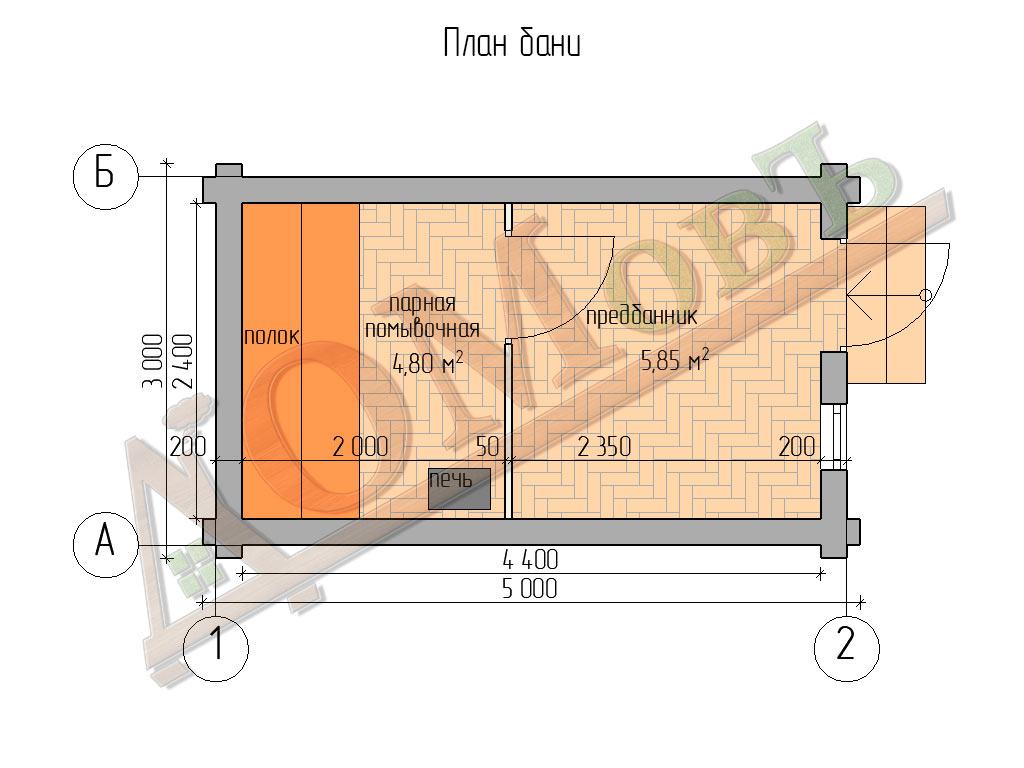 Баня из бревна 3x5 - планировка