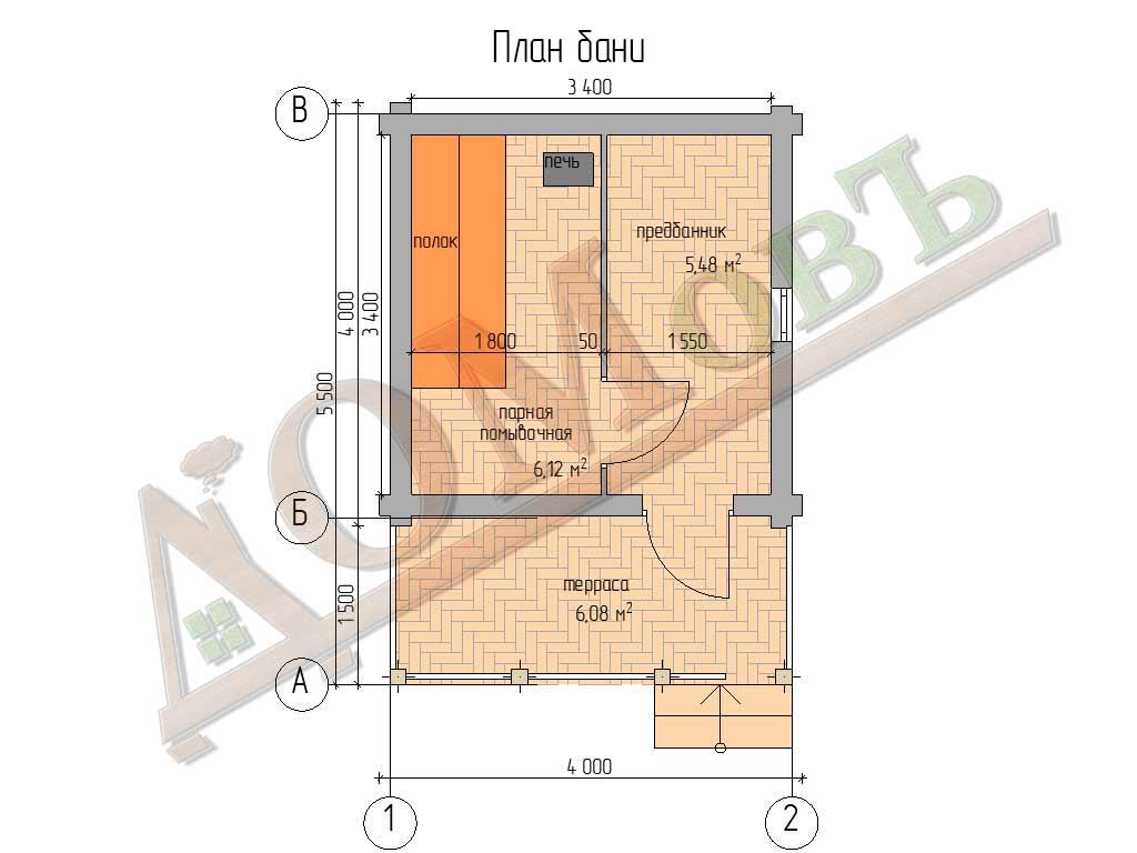Баня из бревна 4х4 с террасой 1,5x4 - планировка