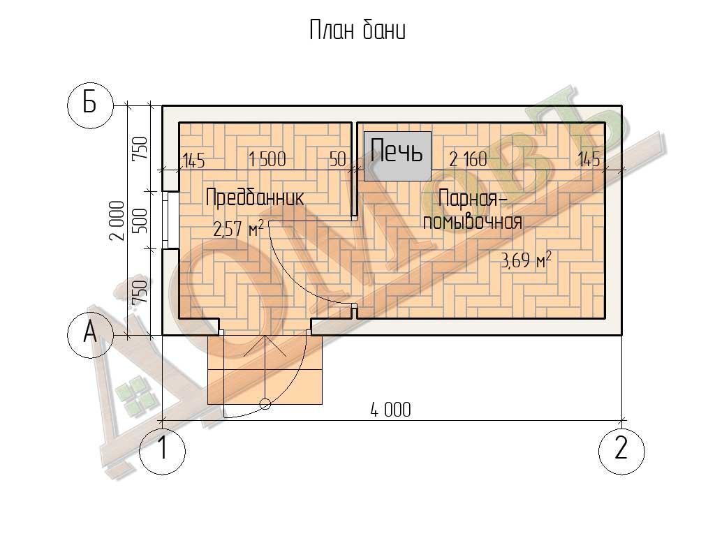 Баня из бруса 2×4 - планировка