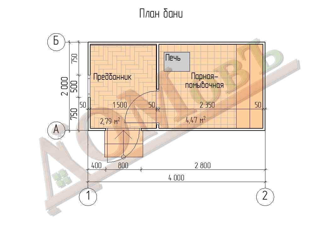 Каркасная баня 2x4 - план