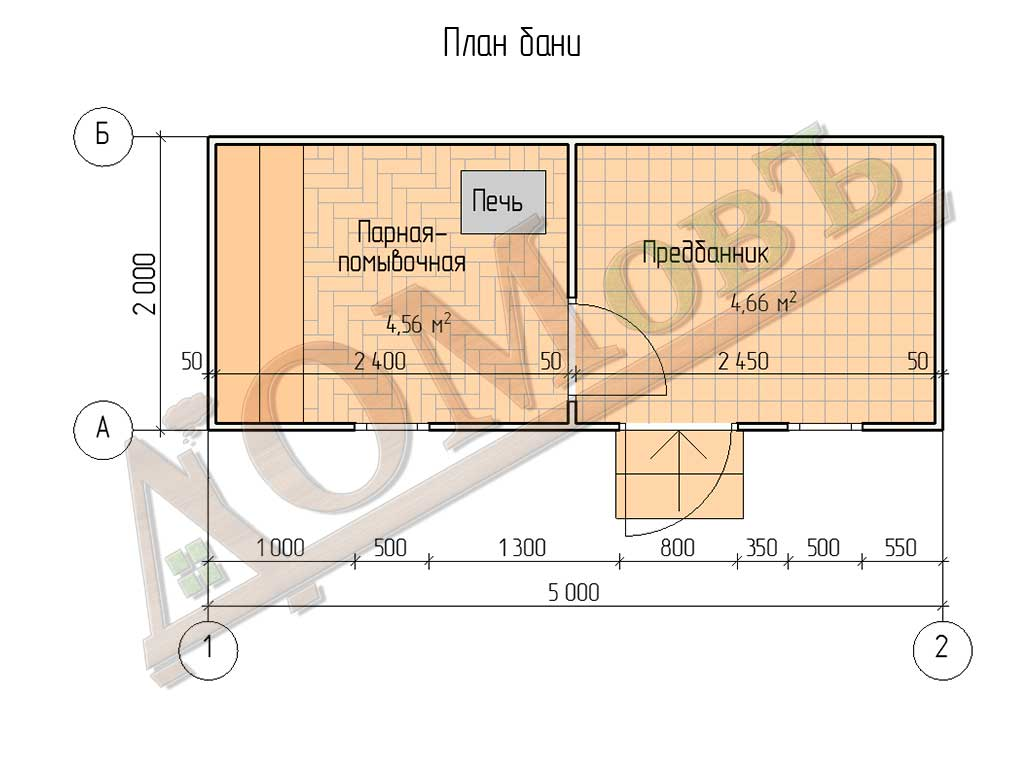 Каркасная баня 2x5 - план
