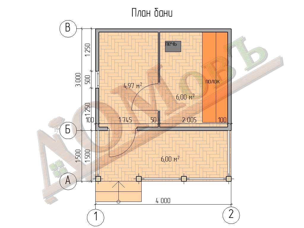 Каркасная баня 3x4 - планировка