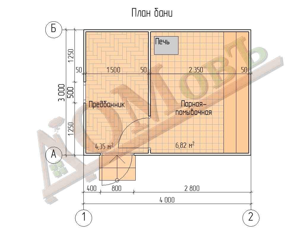 Каркасная баня 3x4 - план