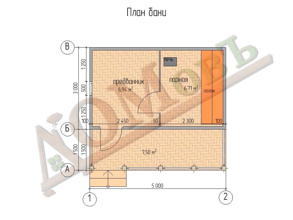 Каркасная баня 3x5 - план