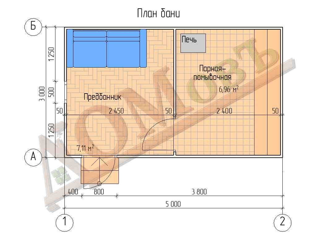 Каркасная баня 3х5 - план