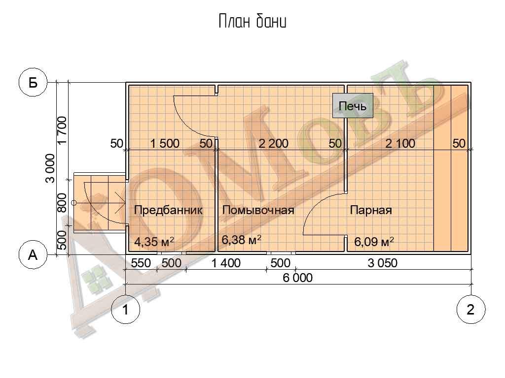 Каркасная баня 3x6 - план