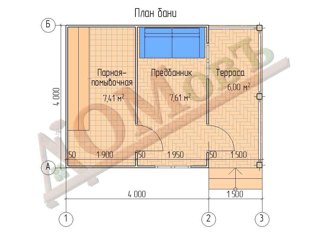 Каркасная баня 4х4 с террасой 1,5х4 - план