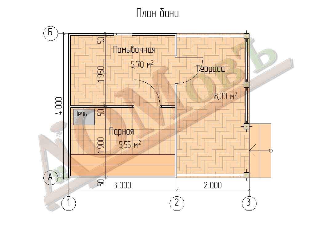 Каркасная баня 3х4 с террасой 2х4 - проект БК3-3 - планировка