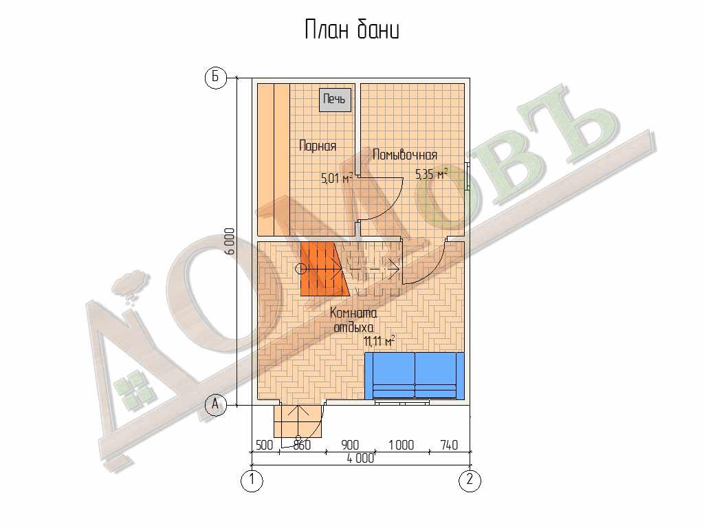 Каркасная баня 4х6 с мансардой - планировка бани
