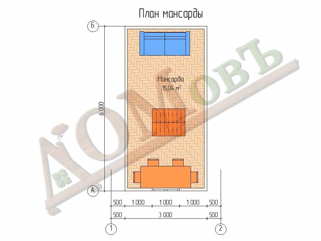 Каркасная баня 4х6 с мансардой - планировка мансарды