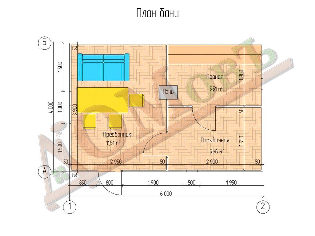 Каркасная баня 4х6 - план