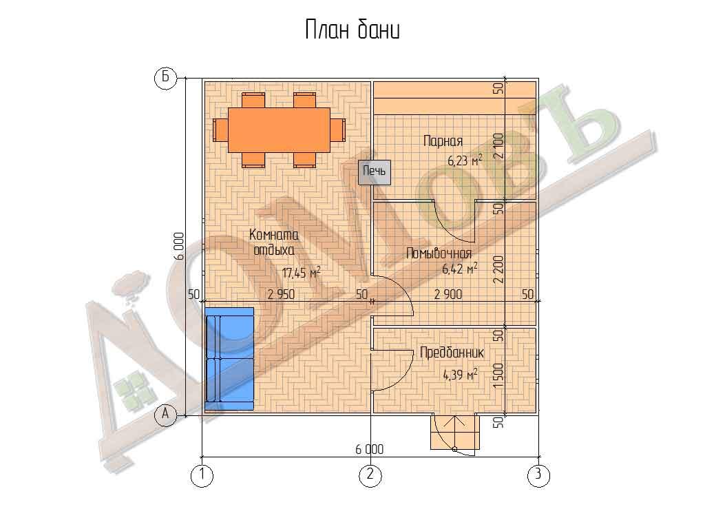 Каркасная баня 6х6 - планировка