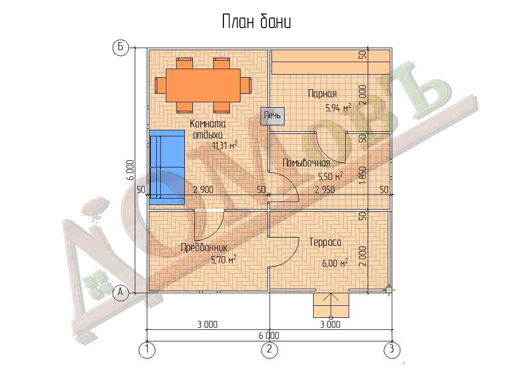 Каркасная баня 6х6 с террасой 2х3 - планировка