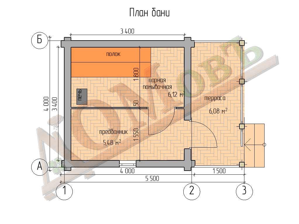 Баня из бревна 4х4 с террасой 1,5х4 - планировка