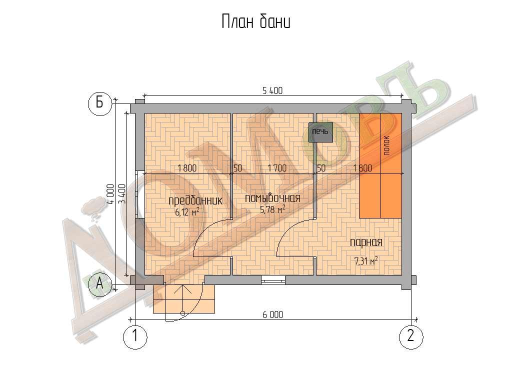 Баня из бревна 4х6 – проект ОБ-15 - план