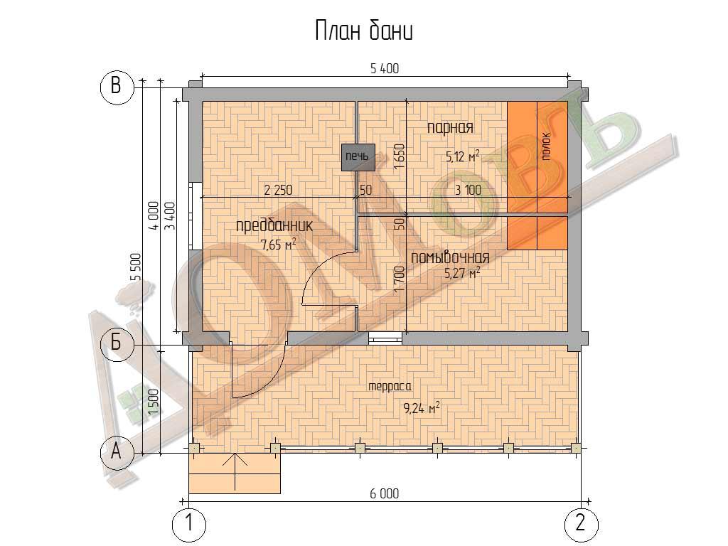 Баня из бревна 4х6 с террасой 1,5x6 - планировка
