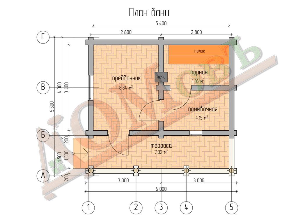 Баня из бревна 4х6 с террасой 1,5х6 - планировка