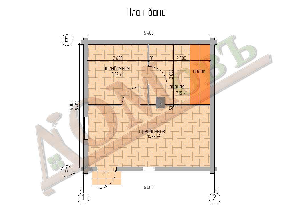 Баня из бревна 6×6 - планировка