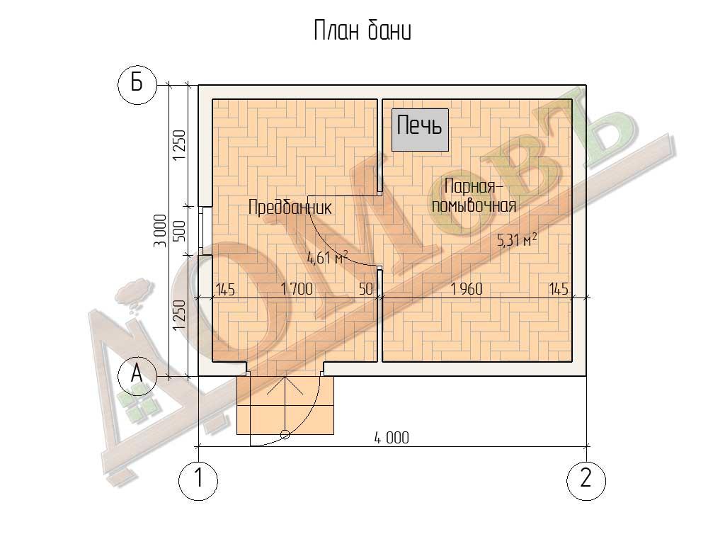 Баня из бруса 3x4 - планировка