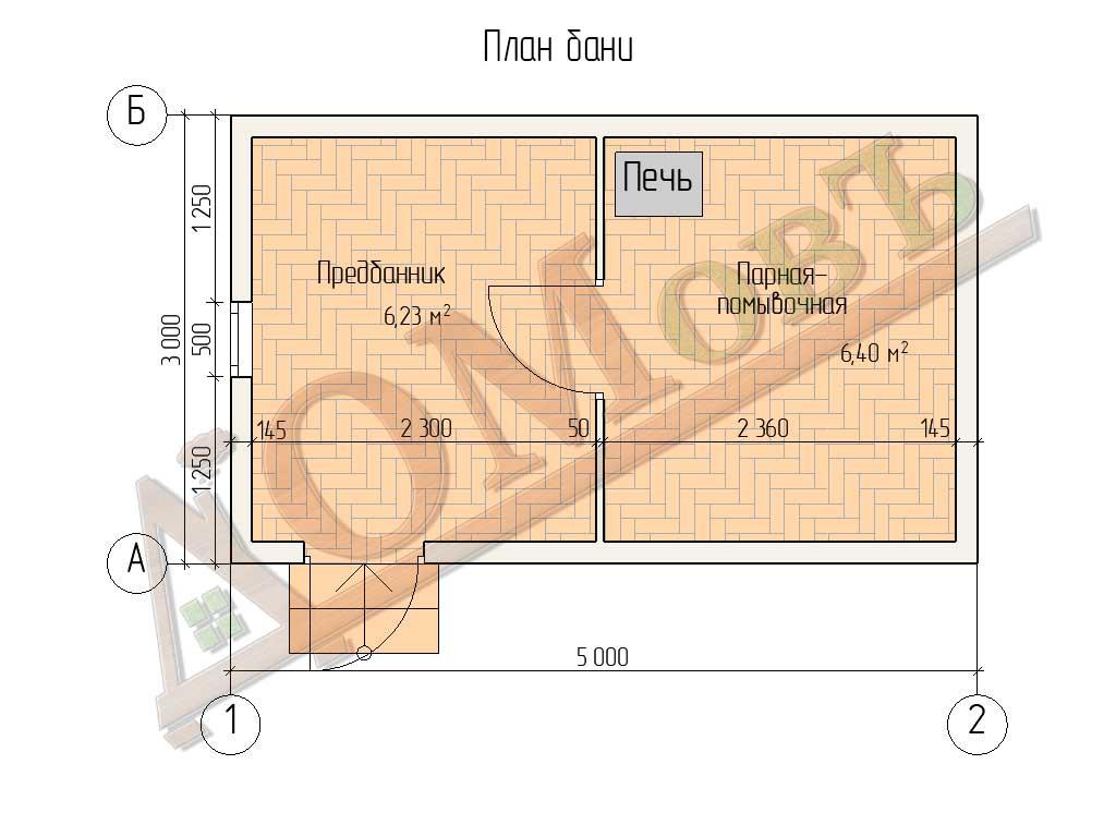 Баня из бруса 3x5 - планировка
