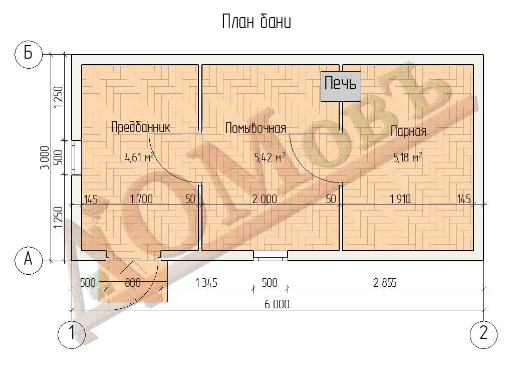 Баня из бруса 3x6 - планировка