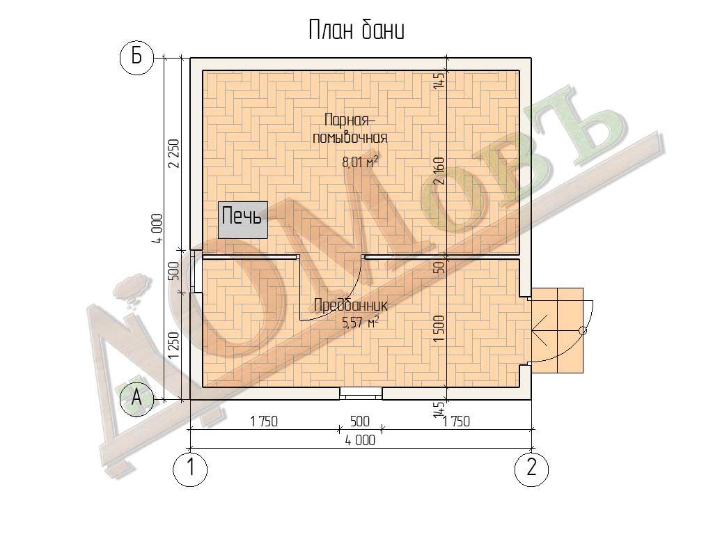 Баня из бруса 4x4 - планировка