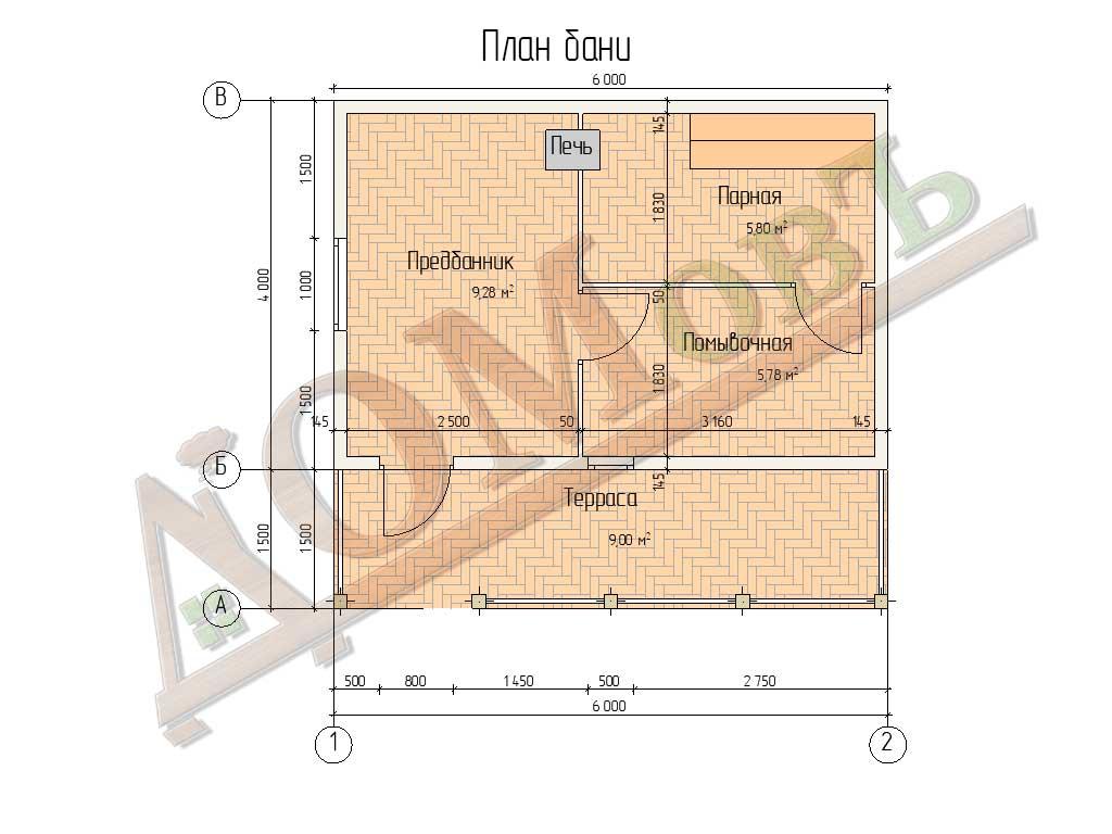 Баня из бруса 4x6 с террасой 1,5x6 - планировка