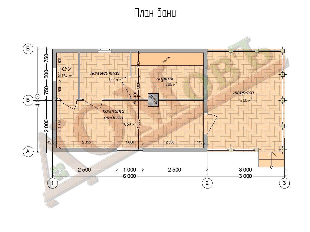 Баня из бруса 4x6 с террасой 3x4 - планировка