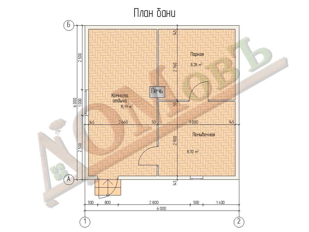 Баня из бруса 6x6 - планировка