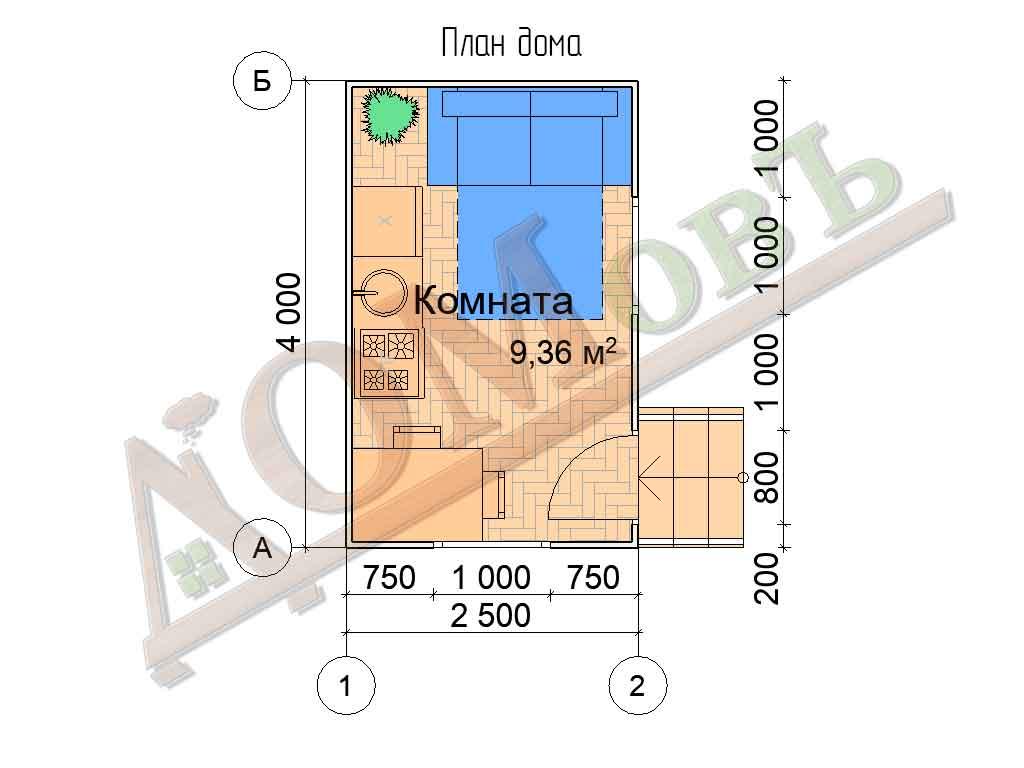 Каркасный дом 2,5x4 - планировка