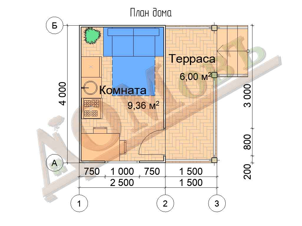 Каркасный дом 2,5х4 с террасой 1,5х4 - планировка