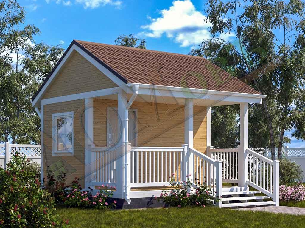 Каркасный дом 2,5х4 с террасой 1,5х4