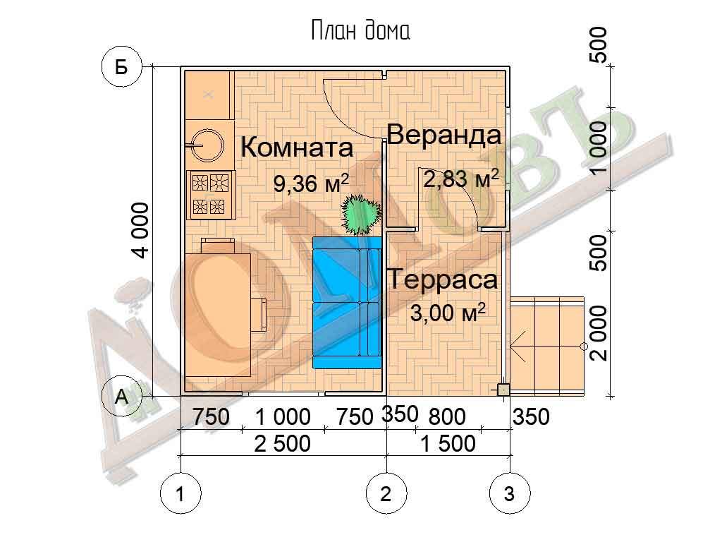 Каркасный дом 2,5х4 с верандой 1,5х2 и террасой 1,5х2 - планировка