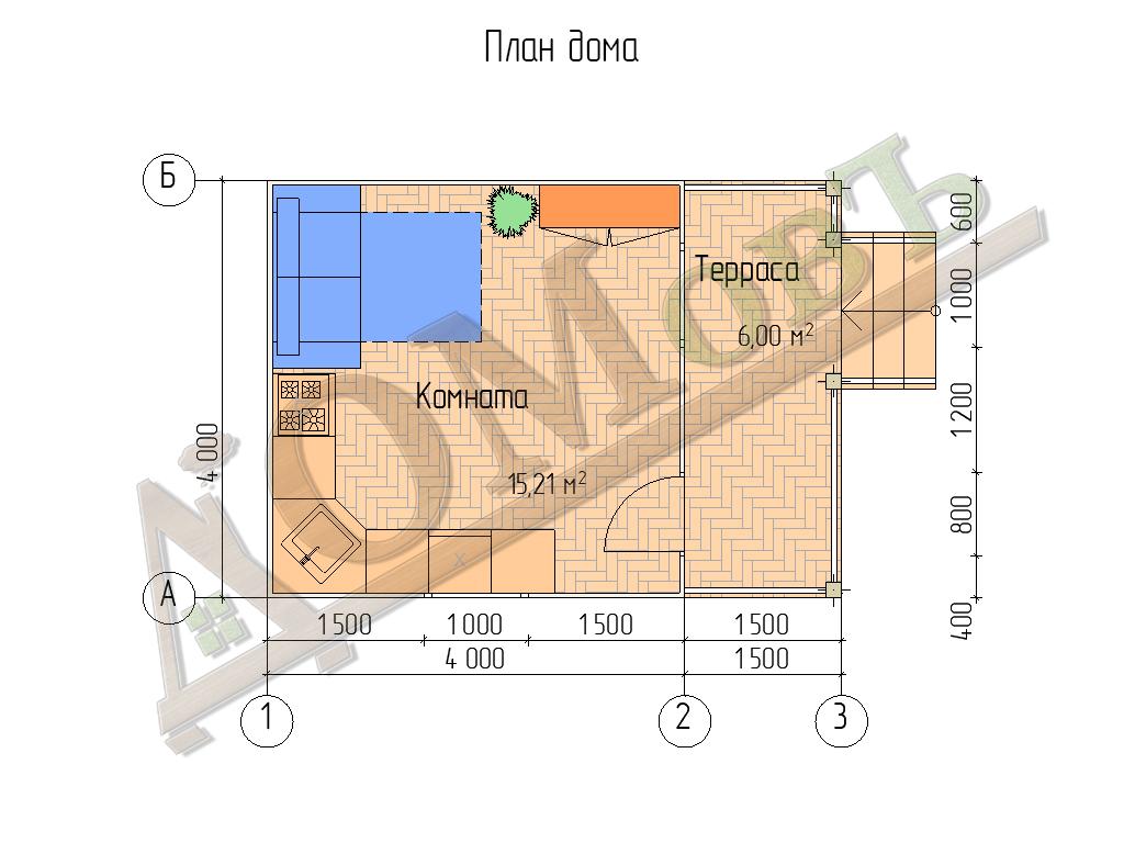 Каркасный дом 4х4 с террасой 1,5х4 - планировка