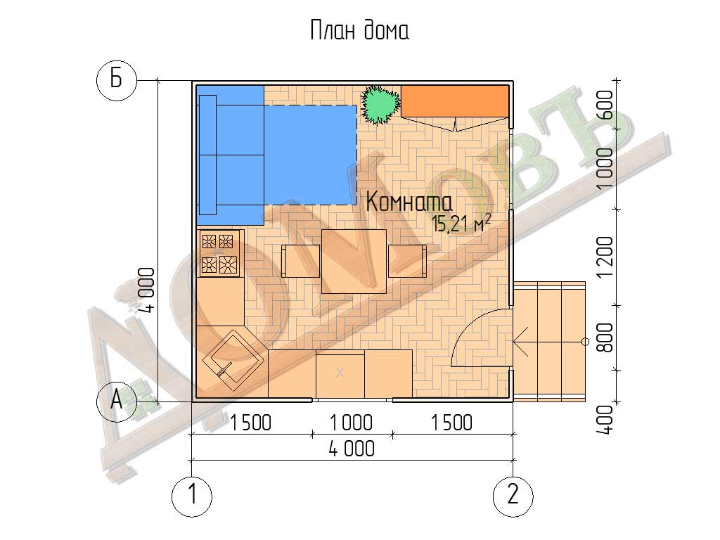 Каркасный дом 4х4 - планировка
