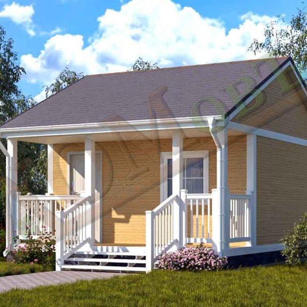 Каркасный дом 4х4 с террасой 1,5х4