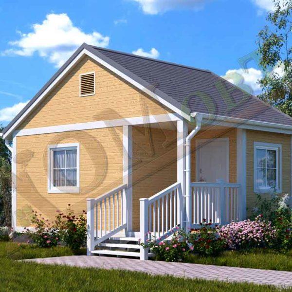 Каркасный дом 4х4 с террасой 1,5х2 и верандой 1,5х2