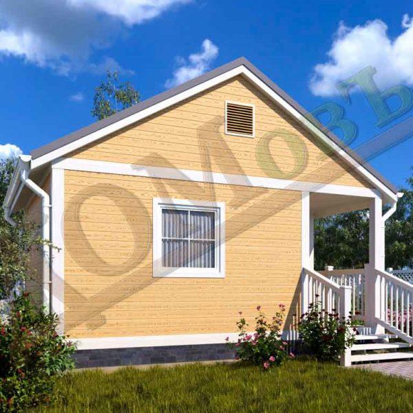 Каркасный дом 4х4 с террасой 1,5х2 и верандой 1,5х2 - ракурс 2