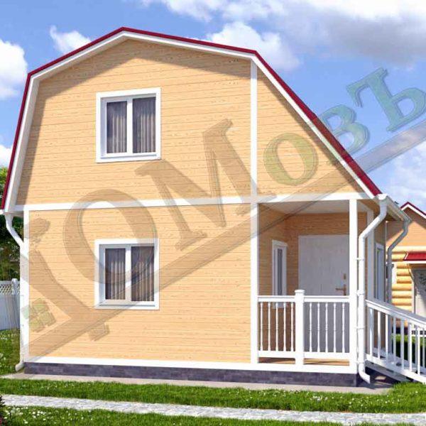 Каркасный дом 4х4 с террасой и верандой 1,5х2