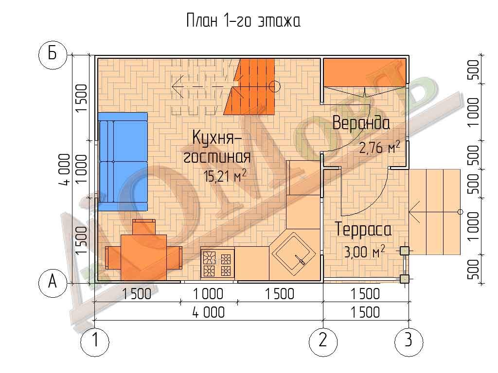 Каркасный дом 4х4 с террасой и верандой 1,5х2 - планировка 1 этажа