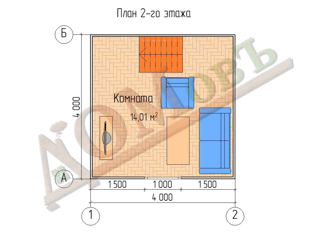 Каркасный дом 4х4 с террасой и верандой 1,5х2 - планировка 2 этажа