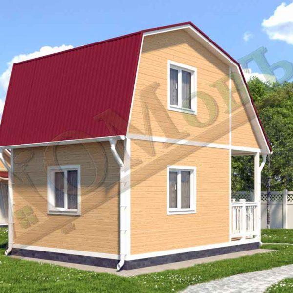 Каркасный дом 4х4 с террасой и верандой 1,5х2 - ракурс 2